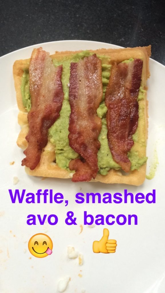 avocado waffles bacon