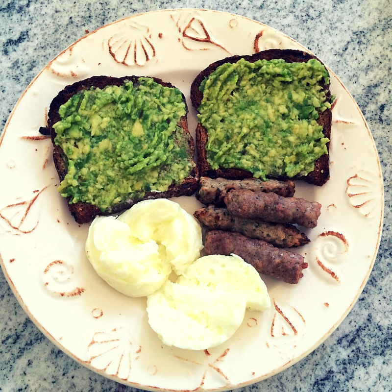 avo, sausage, whites breakfast